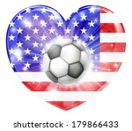 America soccer football ball flag love heart concept with the American flag in a heart shape and a soccer ball flying out  - stock photo