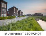 Large Modern Middle Class Suburban Houses in Groningen, Netherlands - stock photo