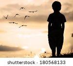 Alone kid standing on field looking far away on birds flock - stock photo