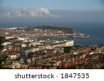 Scarborough Harbour from Olivers Mount - stock photo