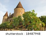 The castle of Corcelles and its vineyard in the South of France - stock photo