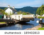Canal Lock at Cairnbaan Bridge on the Crinan Canal in Scotland - stock photo