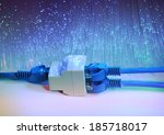 network cables and hub closeup with fiber optical background - stock photo