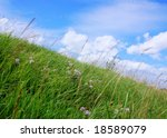 Hill with green grass, blue sky and clouds - stock photo