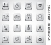 Fitness and Health icons set in button - stock vector