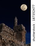 Moonrise over David's tower (citadel) - the old city of Jerusalem (Israel) - stock photo