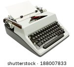 Side view of Typewriter on white background with clipping path - stock photo