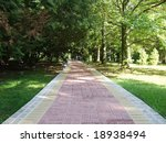 the walkway in a park - stock photo