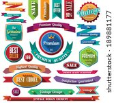 Set of retro vintage badges and labels 07. Flat design with long shadow .eps10  - stock vector