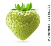 Realistic illustration of unripe strawberry on white background - stock vector