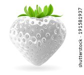 Realistic illustration of white strawberry on white background - stock vector