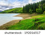 view on lake near the pine forest on mountain background - stock photo