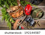 Forester lodge full of equipment for hunting - stock photo