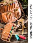 Hunter bag full of bullets - stock photo