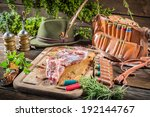 Venison on table of the hunter - stock photo