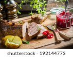 Venison with cranberry sauce and rosemary - stock photo