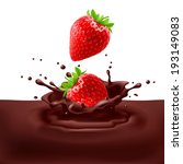 Appetizing strawberries dipping into chocolate with splashes - stock vector