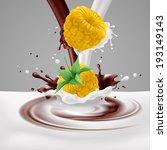 Appetizing yellow raspberries in milk and chocolate splashes - stock vector