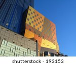 This is a group of colorful buildings in Manhattan. - stock photo