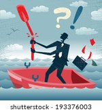 Abstract Businessman is without a paddle. Great illustration of Retro styled Businessman lost at sea without a paddle to help him get back to dry land. - stock vector