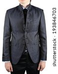 Men wedding gray suit with a pattern, high collar and vest - stock photo