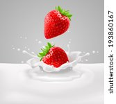 Raster version. Appetizing strawberries with green leaves falling into milk with splashes - stock photo