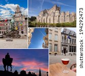 Belgium cities collage with beer, statues, vintage architecture  - stock photo