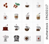 flat icons vector collection with colors of coffee icons set vector  - stock vector