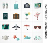 flat icons vector collection with colors of traveling, tourism and vacation theme. Isolated on white background.  - stock vector