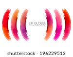 Colorful swatches of lip gloss isolated on white with sample text. Beauty and makeup concept - stock photo