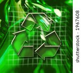 Green abstract graphic background with recycling icon - stock photo