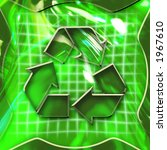 Green abstract graphic background with recycling icon activated - stock photo