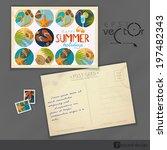 Old Postcard Design, Template. Vector Illustration. Eps 10 - stock vector