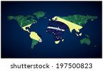 world map covered with the brazilian flag isolated on white background - stock photo