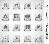 Health icons and Medical Icons with button - stock vector