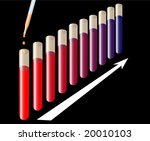 test tubes with color changing reaction (photo format) - stock photo