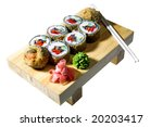 appetizing sushi isolated on the white background - stock photo
