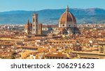 Aerial View over the Historic City of Florence, Tuscany, Italy - stock photo