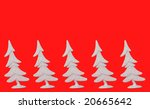 five silver trees on red background - stock photo