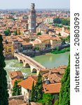 Verona panoramic view from the hill, Italy - stock photo