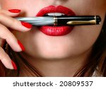 Sexy businesswoman teacher student woman girl holding a pen in her mouth red lipstick lipgloss makeup - stock photo