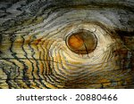 Detailed closeup of old wooden knot - stock photo