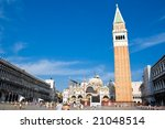 Famous square San Marco in Venice Italy. - stock photo