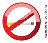 Glossy vector illustration of a no smoking sign - stock vector