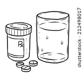 Drug And Glass Of Water Cartoon Vector And Illustration