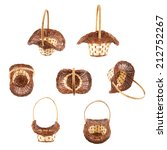 Brown wicker basket isolated over the white background, set of seven foreshortenings - stock photo