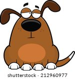 Cartoon illustration of a funny dog with a tired expression.  - stock vector