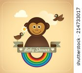 Baby shower illustration with comic monkey. Vector illustration. - stock vector