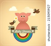 Baby shower illustration with comic pig. Vector illustration. - stock vector