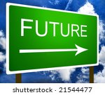 A green future direction road street sign and the sky - stock photo